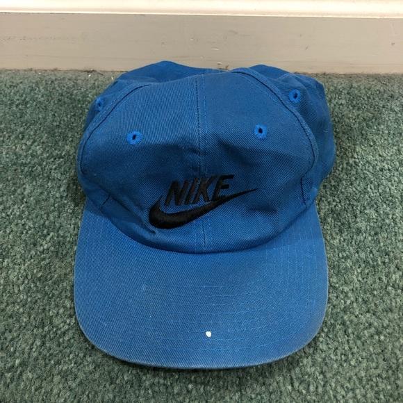 35add5969 Vintage 90s Nike SnapBack hat air swoosh blue
